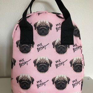 Betsey Johnson Pug Dog Pink Lunch Tote Bag NWT